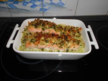 Venkelpuree met zalm en krokant korstje in de oven 6