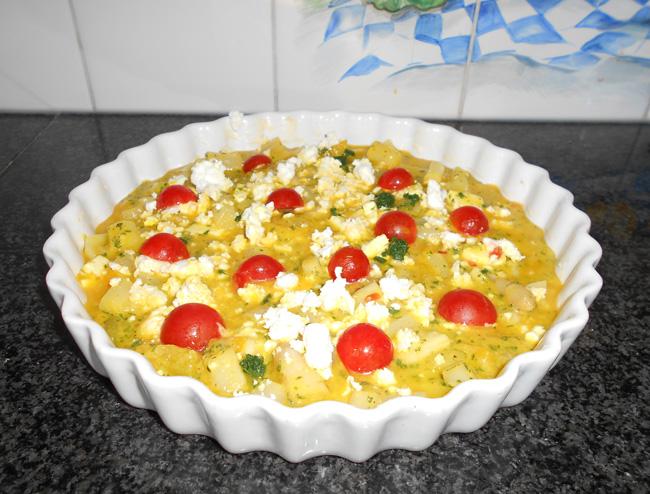Frittata met asperges, paprika, aardappelen en feta 1