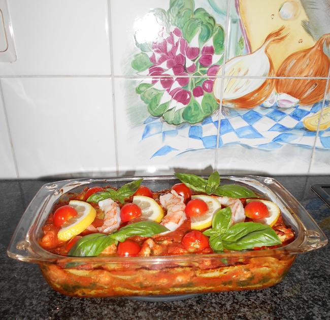 Lasagne met spinazie en scampi 1