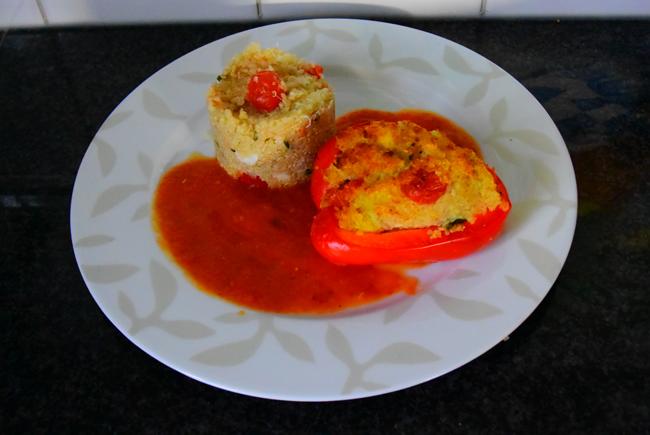 Paprika gevuld met quinoa en krab 1