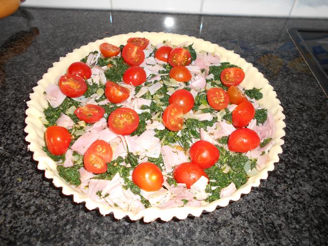 Quiche met spinazie, ham en kruidenkaas 1
