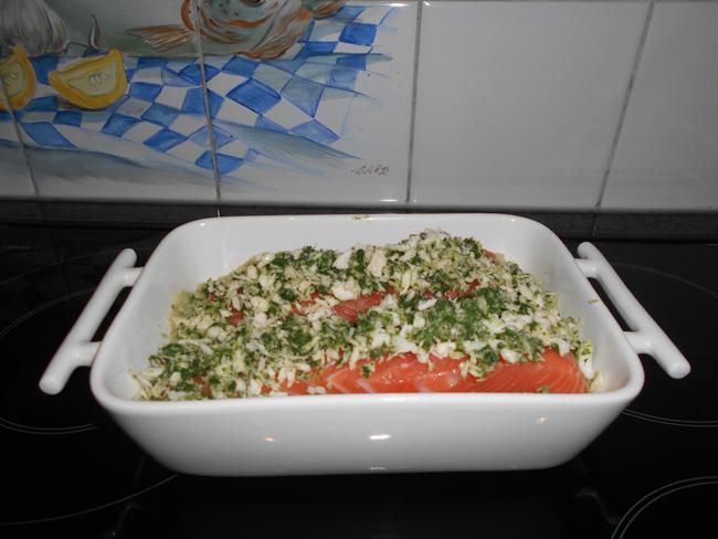 Venkelpuree met zalm en krokant korstje in de oven 1