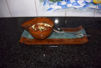 Borrelglaasje met bloemkoolroom en spekjes. 4