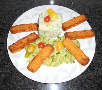 Fish sticks met gestoofde prei in saus en aardappelpuree 4