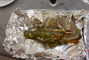 Forel en aardappelen in papillot op barbecue of in de oven 8