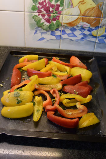 Gegrilde groenten: hier paprika en tomaten 2
