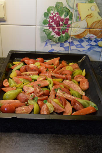 Gegrilde groenten: hier paprika en tomaten 4
