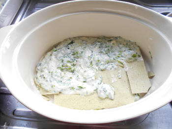 Lasagne met andijvie en grote garnalen of scampi 4
