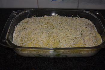 Ovenschotel van visfilets, prei en aardappelen. 8