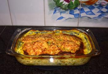 Ovenschotel van visfilets, prei en aardappelen. 9
