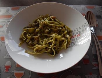 Pasta met paddenstoelen en pesto 8