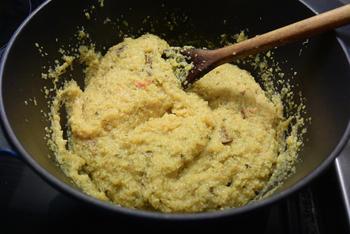 Polenta met gedroogde paddenstoelen, asperges en kalkoenfilets 3