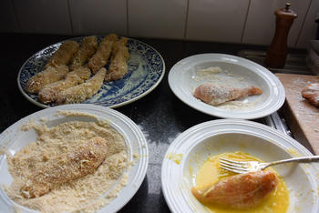 Risotto met paddenstoelen, groentjes en gepaneerde kippenreepjes 3