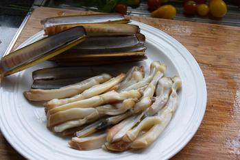 Scheermessen, ensis of zwaardscheden met groentjes in roomsaus 7