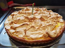 Taart met pudding, ananas en eiwitschuim 9
