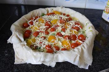 Vegetarische quiche van filodeeg met prei en tomaatjes 9