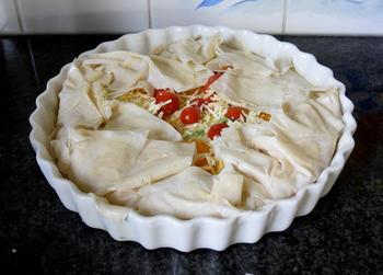 Vegetarische quiche van filodeeg met prei en tomaatjes 10