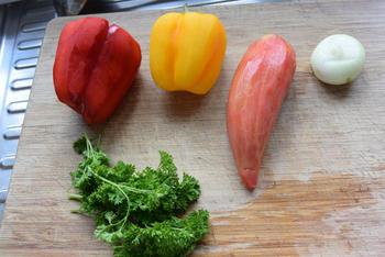 Zeetong en duglérésaus met paprika en aardappeltjes 2