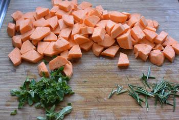Zoete aardappelen met lamskoteletjes 2