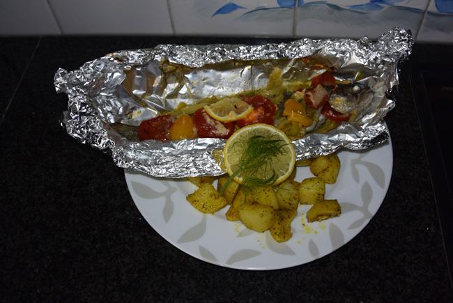 Forel met venkel in papillot met gebakken aardappeltjes 1