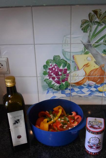 Gegrilde groenten: hier paprika en tomaten 1