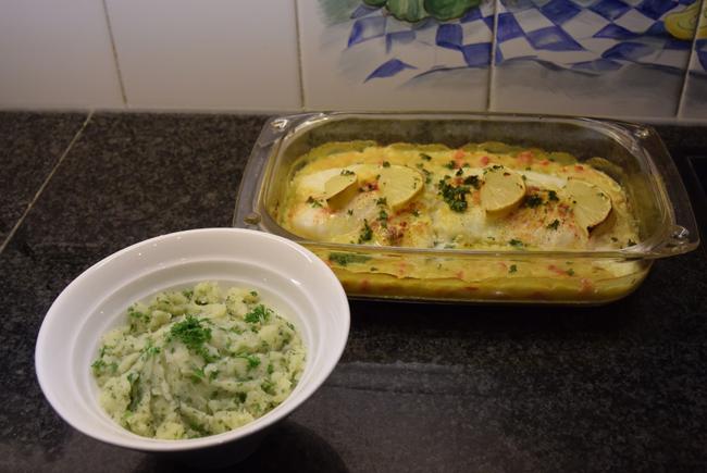 Kabeljauwhaasje met groentesaus in de oven 1