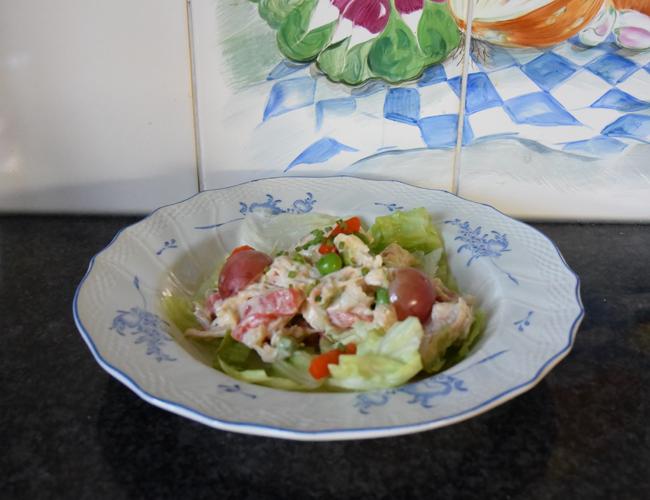 Kipcocktail met groentjes en druiven 1