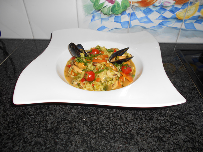 Risotto met groentjes en mosselen 1