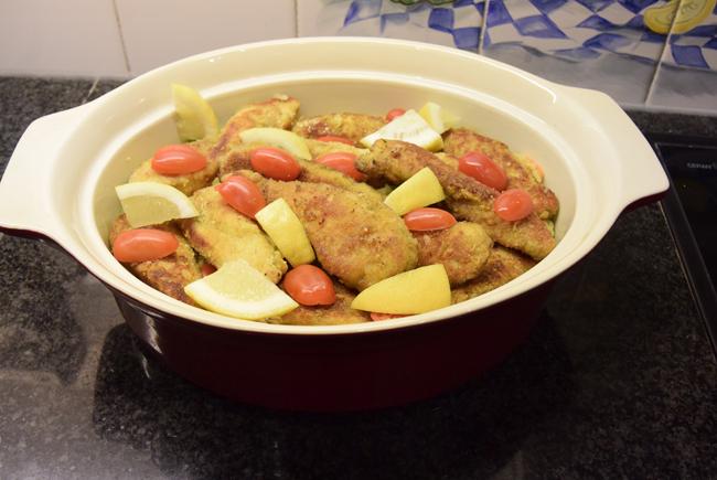 Risotto met paddenstoelen, groentjes en gepaneerde kippenreepjes 1