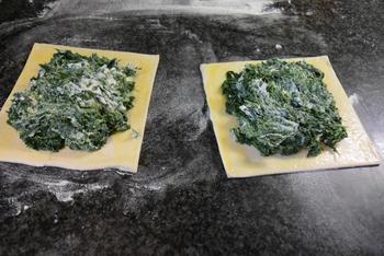 Bladerdeeg gebakje met spinazie en konijnfilets 5