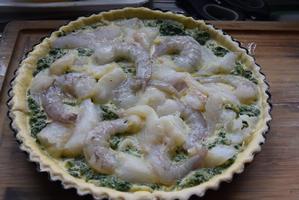 Quiche met spinazie, kabeljauw en scampi 2