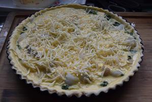 Quiche met spinazie, kabeljauw en scampi 3
