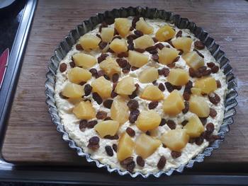Kokostaart met ananas en rozijnen 7