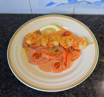 Scampisaté met paprika en paprikasaus 5