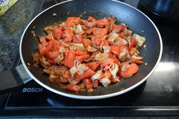 Ovenschotel met rijst, ontbijtspek, paprika en mascarpone 6