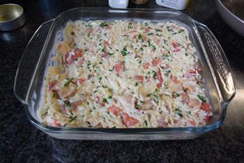Ovenschotel met rijst, ontbijtspek, paprika en mascarpone 8