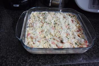 Ovenschotel met rijst, ontbijtspek, paprika en mascarpone 9