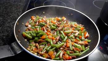 Pasta met spekjes en groentjes 2