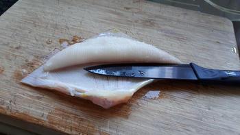 Rolletjes van gebakken rog met asperges, sausje en prei 2