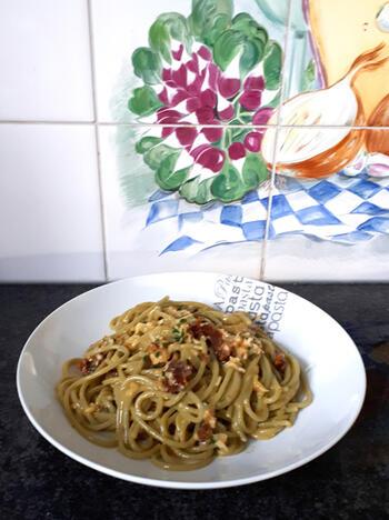 Vegetarische spaghetti carbonara 5