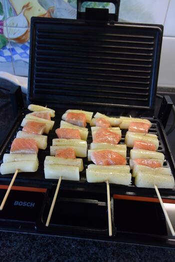 Zalm-asperges spies in de grillpan of op de barbecue 4