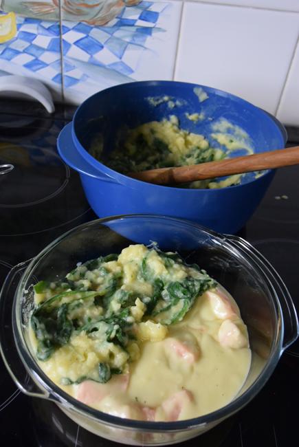 Ovenschotel met zalm en spinaziestamppot 1