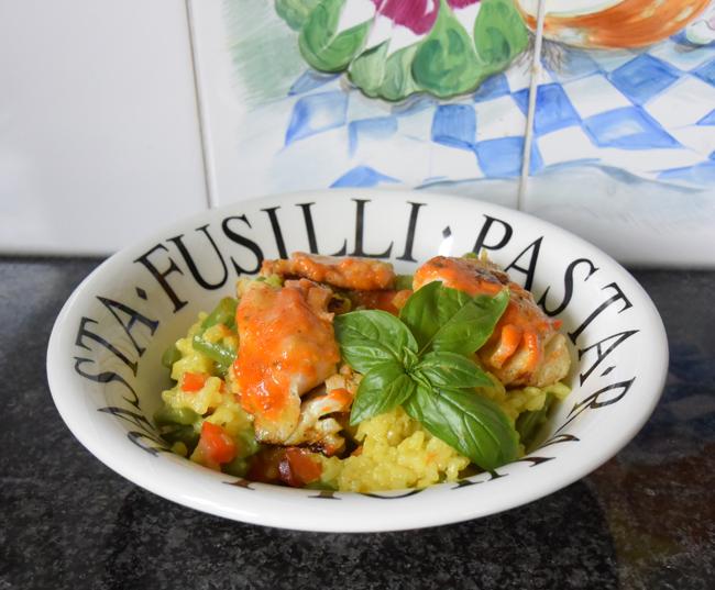 Rijst met prinsesboontjes, paprika en kabeljauw 1