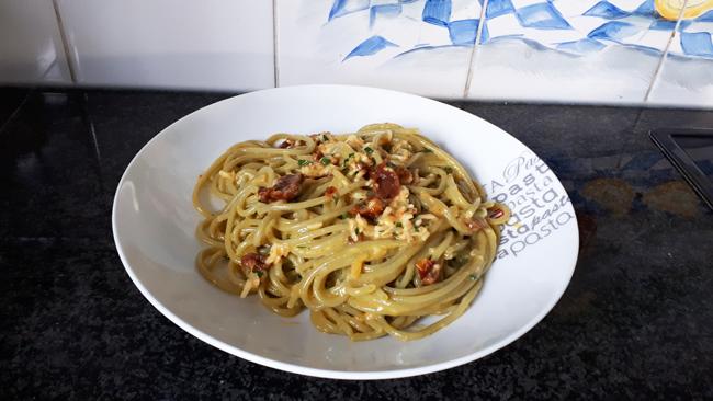 Vegetarische spaghetti carbonara 1