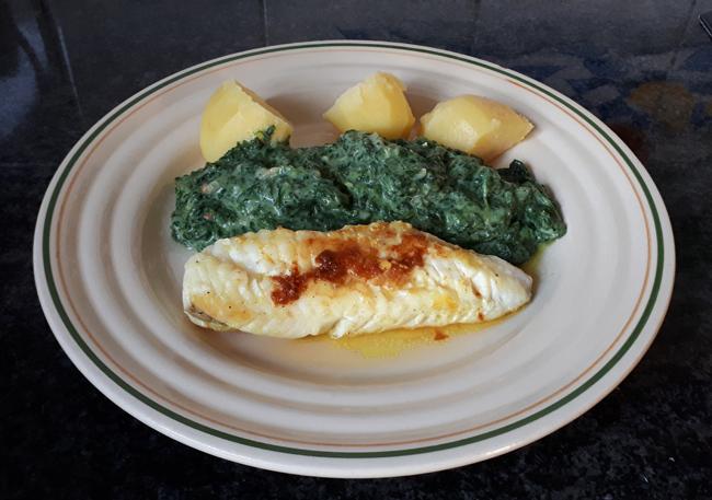 Zeeduivel of andere vis met spinazie in bechamelsaus 1