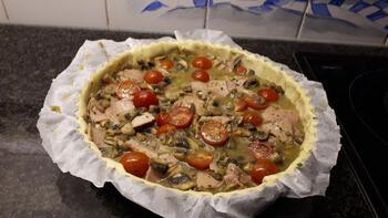 Hartige taart met champignons en ham 6