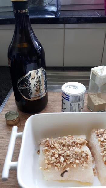 Kabeljauw met notenkorst en risotto met venkel en rode biet 5