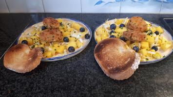 Krabkoekjes met mango, witloof en blauwe bessensla 10