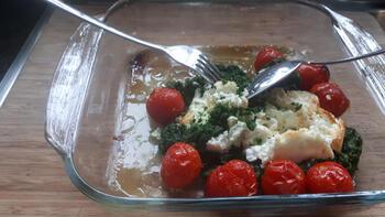 Pasta met spinazie, kerstomaatjes en feta 4