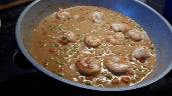 Rode curry met scampi 6